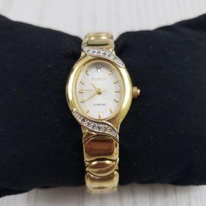 Elgin Diamond Gold Tone Watch Bracelet Oval Vtg